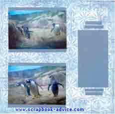 Aquarium Scrapbook Layout showing penguines in winter environment