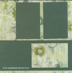 Bermuda Scrapbook Layout using shades of green bazzill paper with matching floral print background