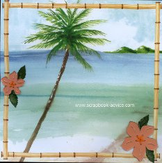 Bermuda Scrapbook Layout using beach scene background papers and plexiglass hibiscus & palm trees embroidered with DMC threads