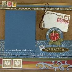 Bermuda Scrapbook Layout using Close to My Heart Moondoggie Stickers, brown cording, and painted Dimensional Elements Borders