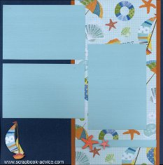 Bermuda Scrapbook Layout using color blocking with printed paper, journaling box and stacked embellishments