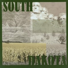 Die Cut Page Kit with South Dakota in dark green over a collage of South Dakota images