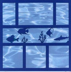 Full Page Die Cut of Aquarium Fish & Seahorse from Dillons Lazer Designs with blue water background