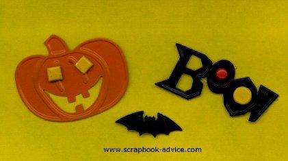 Halloween Scrapbook Embellishments Pumpkin and Boo Brad Buddies and Bat Brad