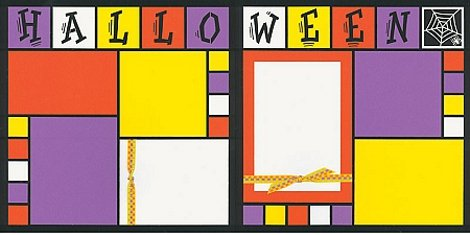 Halloween Scrapbook Layout using Mosaic Moments Kit with Orange, Purple and Yellow cardstock and spider web embellishment