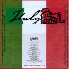 Scrapbook cover page for Italian Scrapbook with Italian Flag, Italy Die Cut and Explanation or flag design