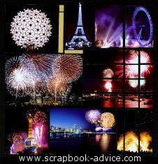 Mosaic Scrapbook Layout Kit with fireworks photos
