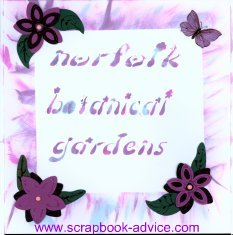 Scrapbooking Chalk used on title page layout about Norfolk Botanical Gardens