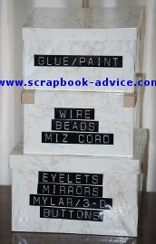 Scrapbook Organization Recycled Boxes