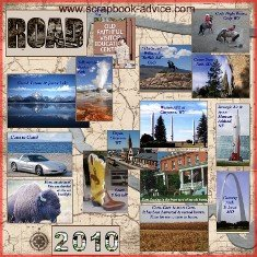 Road Trip Scrapbook Album Front Cover Title Page