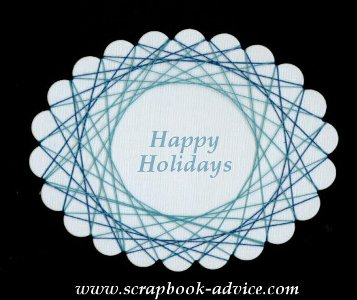 Spirella Design with Blue Threads & Happy Holidays Stamped in the center