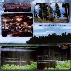 Yellowstone Scrapbook Layouts showing Buffalo at Yellowstone Lake Lodge