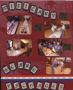 Military Care Packages Scrapbook Layout