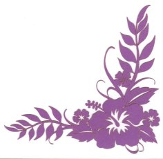 Die Cut HIbiscus in Purple to use as a Corner accent