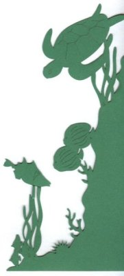Die Cut of sea life for left corner with turtle, fish, coral and seaweed