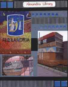 Egyptian Scrapbook Layout showing photos of Alexandria and Alexandria Library