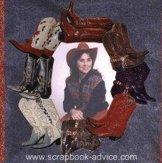 Photos of Boots cut out and used as a frame around photo