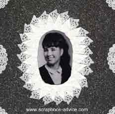 Heritage Scrapbook Layout with cur and folded doilies used to frame the photograph