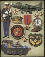 Military Scrapbook Marine Stickers