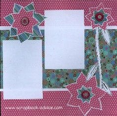 Personal Shopper Scrapbook Layout using Brads for Flower centers