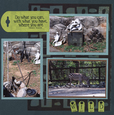 Zoo Africa Scrapbook Layout of Zebras